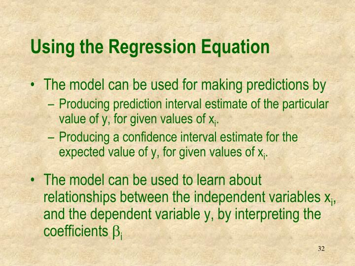 Using the Regression Equation