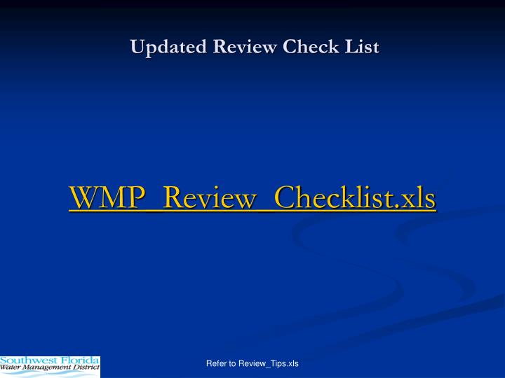 Updated Review Check List