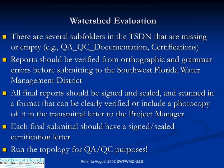 Watershed Evaluation