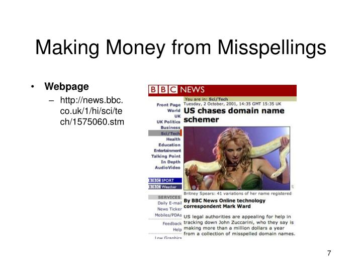 Making Money from Misspellings