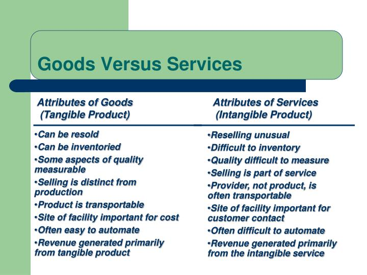 Goods Versus Services