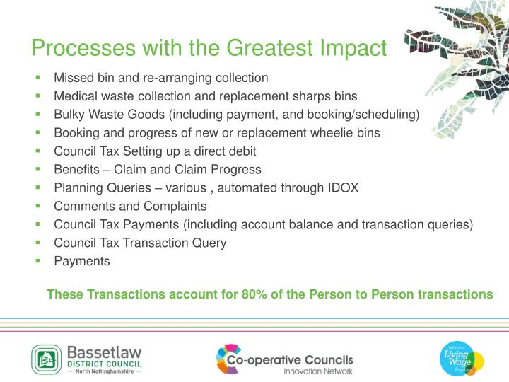Processes with the Greatest Impact
