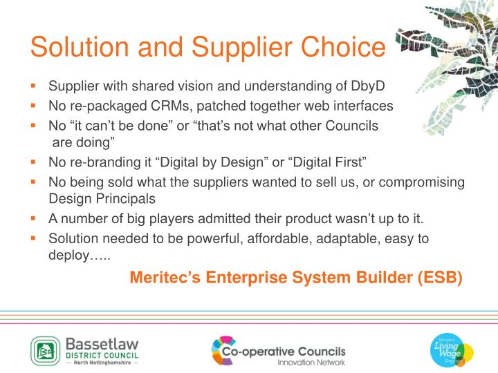 Solution and Supplier Choice
