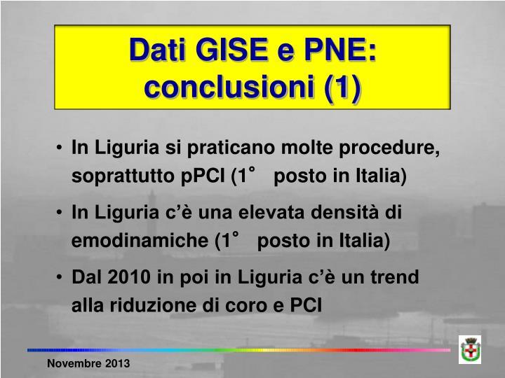 Dati GISE e PNE: conclusioni (1)