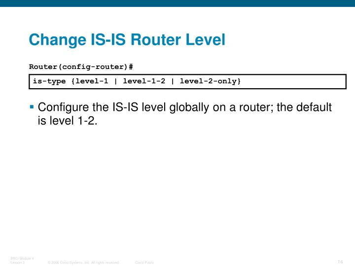Change IS-IS Router Level