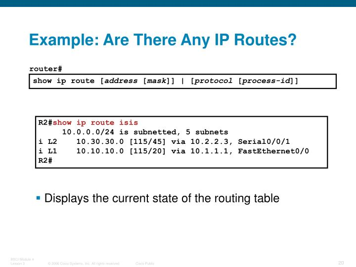 Example: Are There Any IP Routes?
