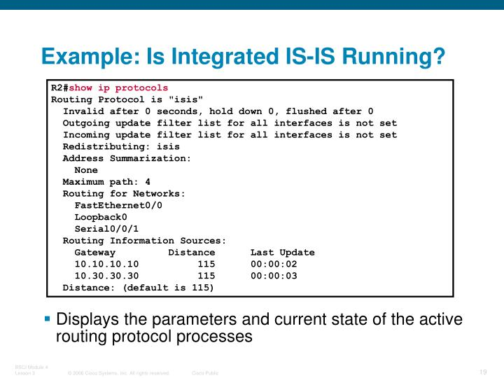 Example: Is Integrated IS-IS Running?