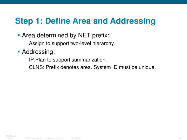 Step 1: Define Area and Addressing