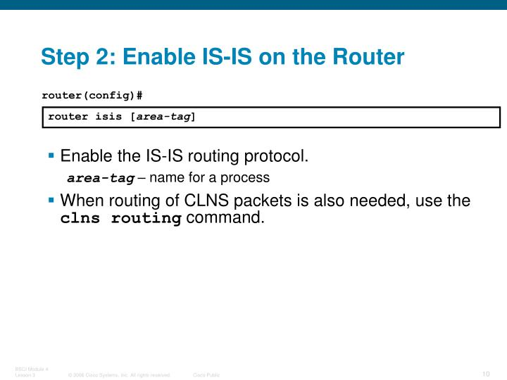 Step 2: Enable IS-IS on the Router