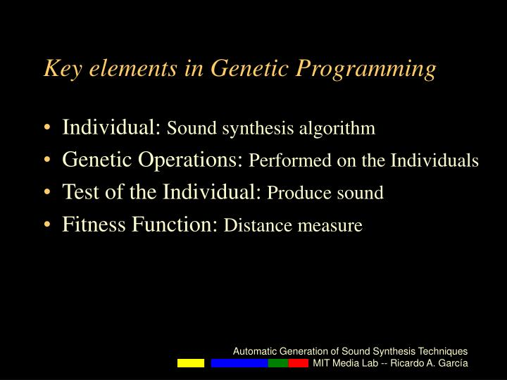 Key elements in Genetic Programming