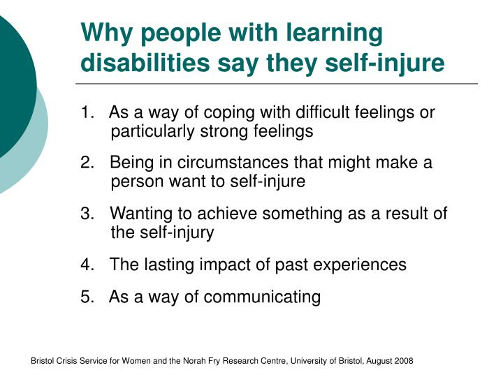 Why people with learning disabilities say they self-injure