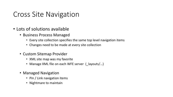 Cross Site Navigation