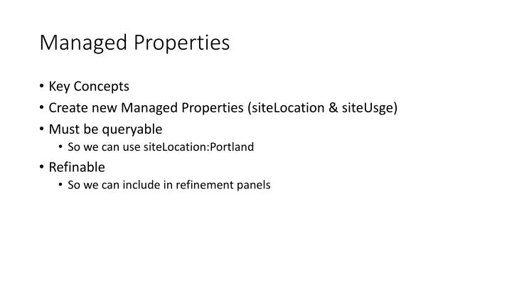 Managed Properties