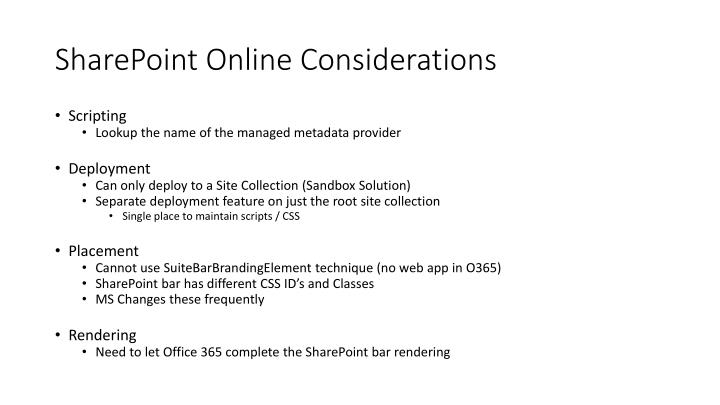 SharePoint Online Considerations