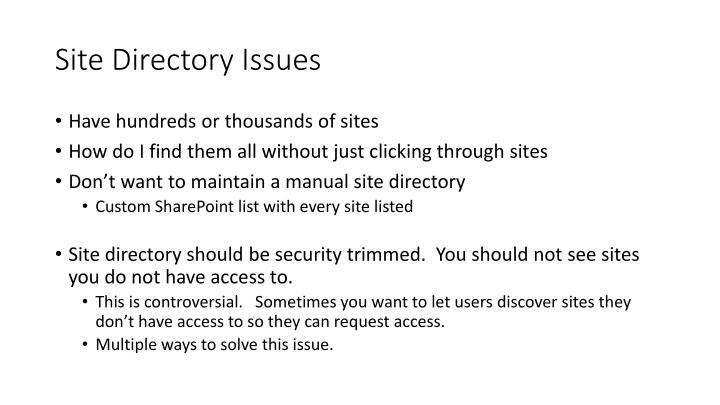 Site Directory Issues