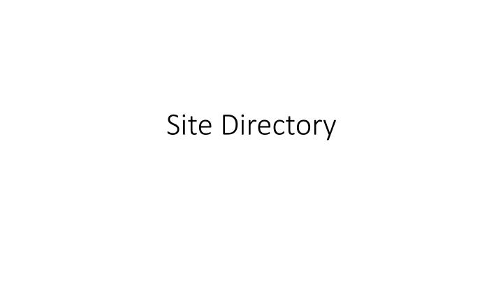 Site Directory
