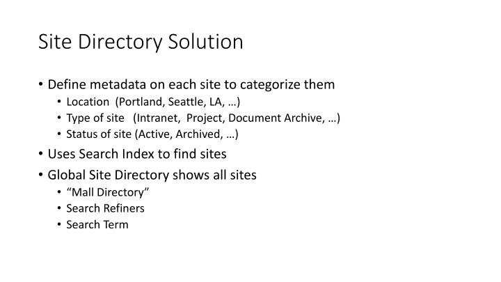 Site Directory Solution