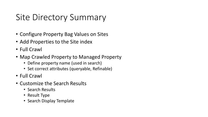 Site Directory Summary