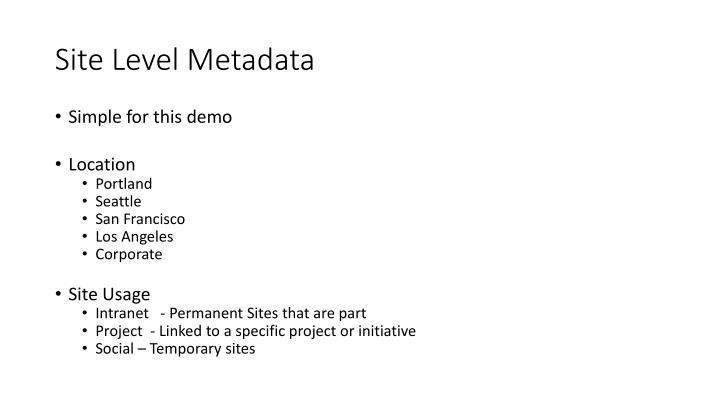 Site Level Metadata