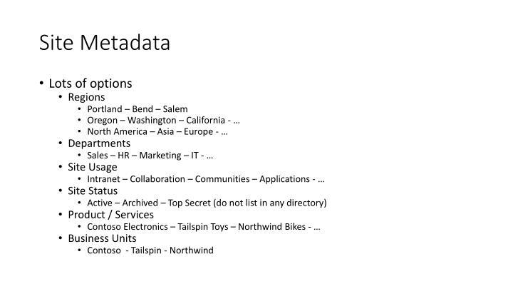 Site Metadata