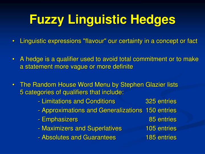 Fuzzy Linguistic Hedges