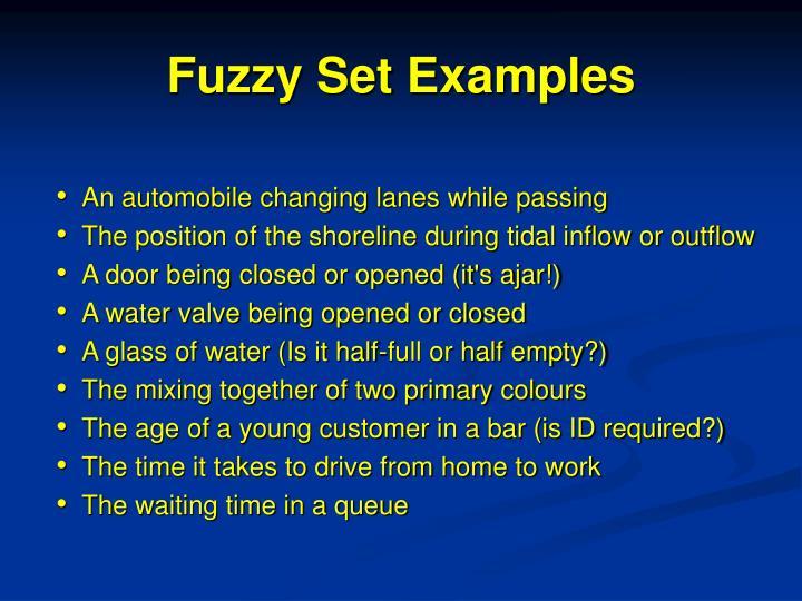 Fuzzy Set Examples