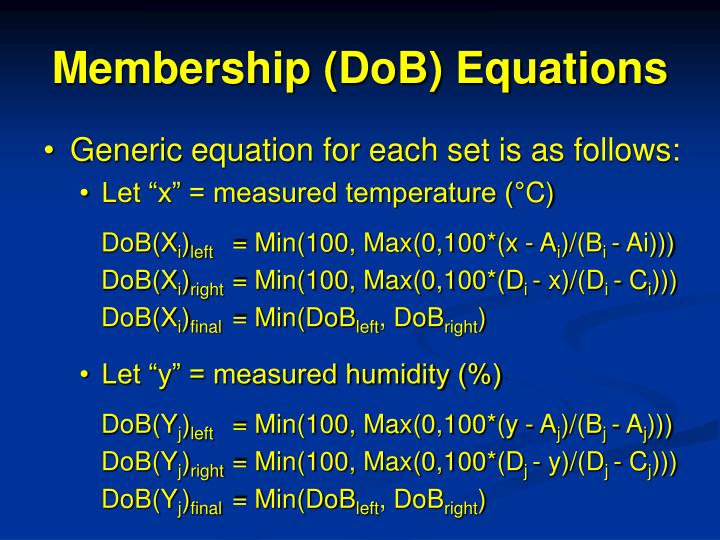 Membership (DoB) Equations