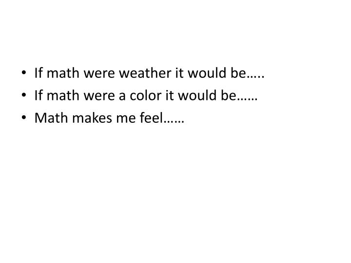 If math were weather it would be…..