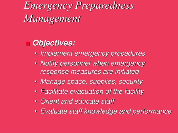 Emergency Preparedness Management