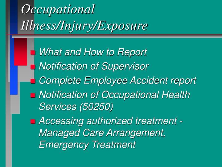 Occupational Illness/Injury/Exposure