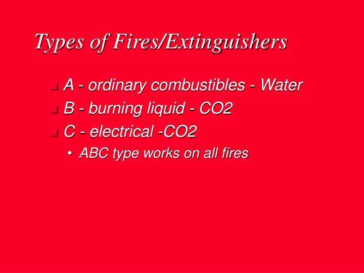 Types of Fires/Extinguishers