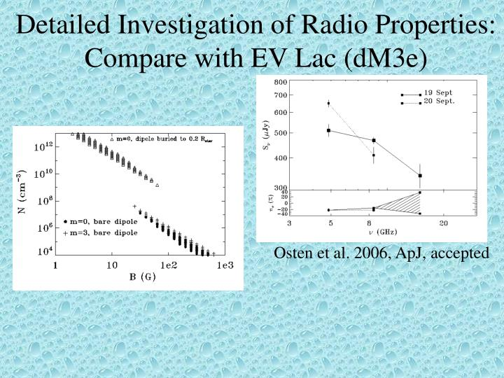 Detailed Investigation of Radio Properties: Compare with EV Lac (dM3e)