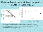detailed investigation of radio properties tvlm513 46456 m9 v