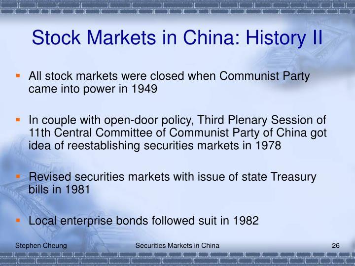 Stock Markets in China: History II