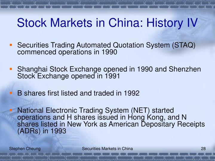 Stock Markets in China: History IV