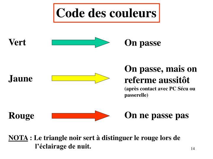 Code des couleurs