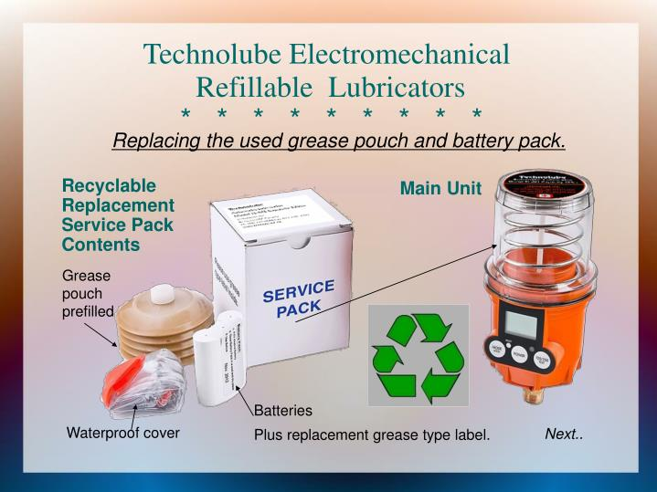 Recyclable replacement service pack contents