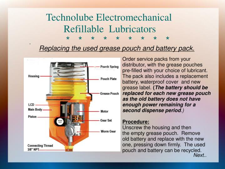 Technolube electromechanical refillable lubricators