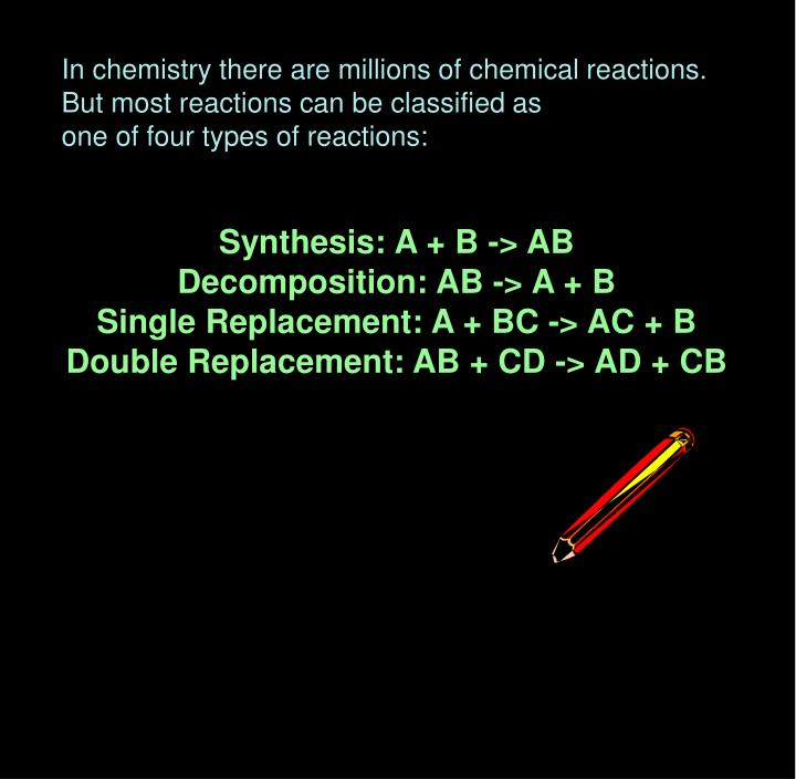 In chemistry there are millions of chemical reactions.
