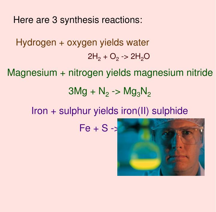 Here are 3 synthesis reactions: