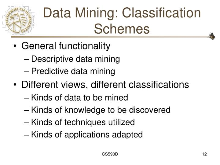Data Mining: Classification Schemes