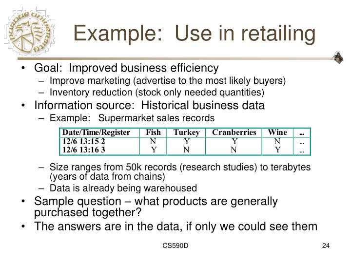 Example:  Use in retailing