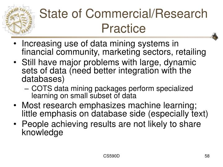 State of Commercial/Research Practice