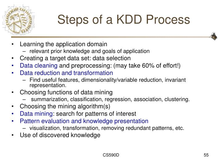Steps of a KDD Process