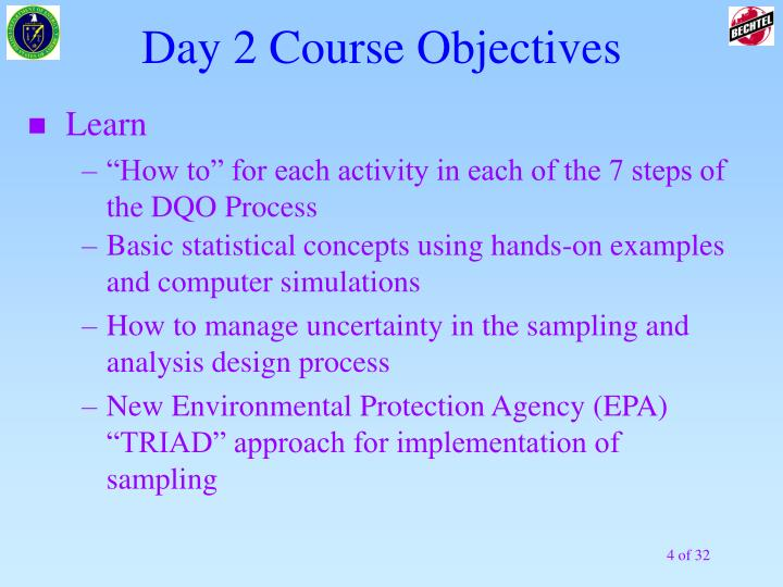 Day 2 Course Objectives