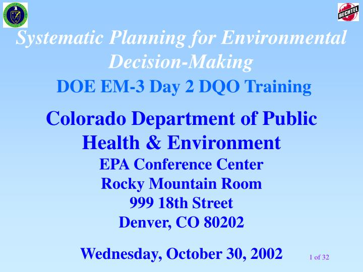 Systematic Planning for Environmental Decision-Making