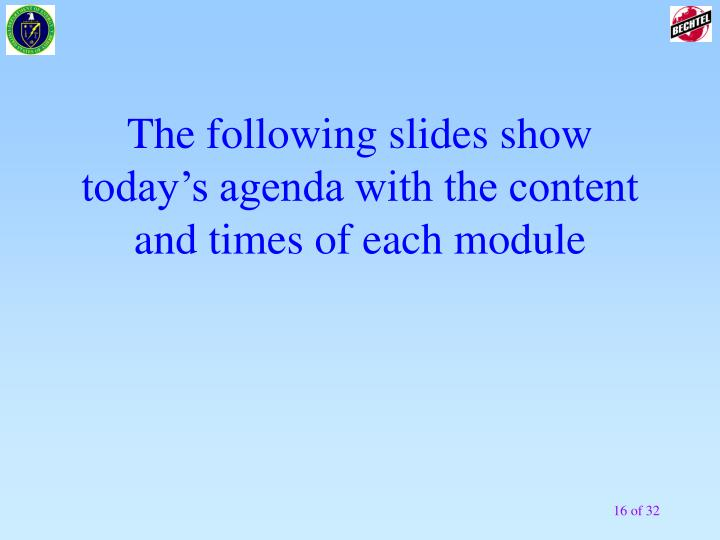 The following slides show today's agenda with the content and times of each module