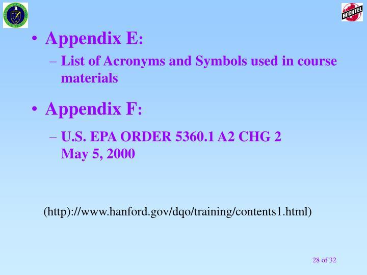 Appendix E