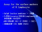 assay for the surface markers of b lymphocyte