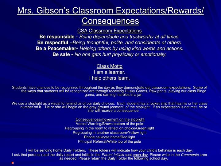 Mrs. Gibson's Classroom Expectations/Rewards/